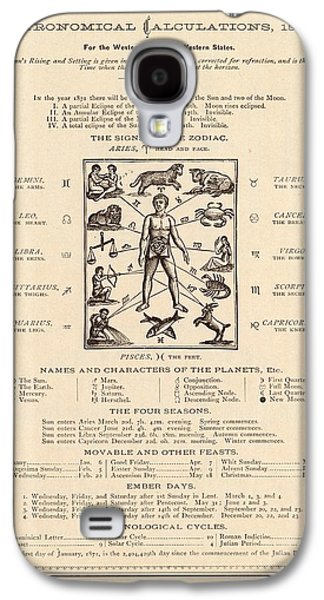 Astrology And The Human Body Galaxy S4 Case by Mid-manhattan Picture Collection/new York Public Library