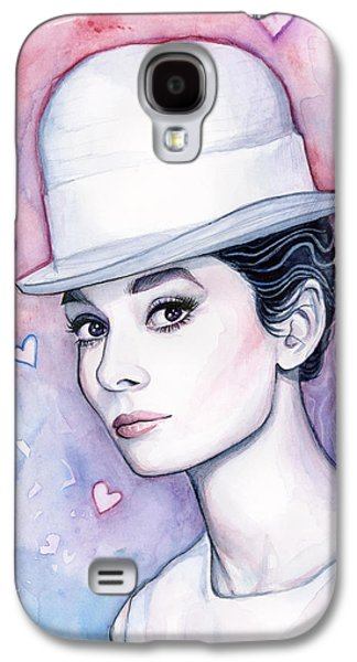 Audrey Hepburn Fashion Watercolor Galaxy S4 Case by Olga Shvartsur