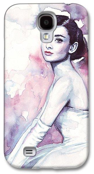 Audrey Hepburn Purple Watercolor Portrait Galaxy S4 Case by Olga Shvartsur