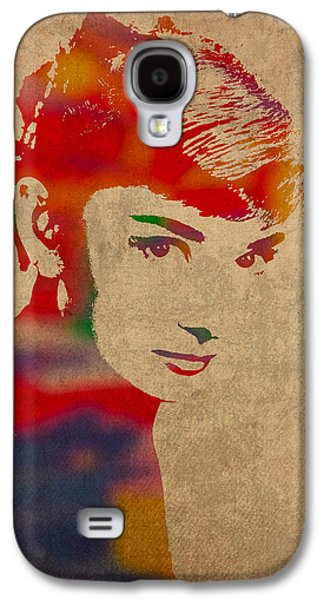 Audrey Hepburn Watercolor Portrait On Worn Distressed Canvas Galaxy S4 Case by Design Turnpike