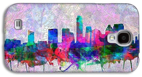 Austin Texas Skyline Watercolor 2 Galaxy S4 Case