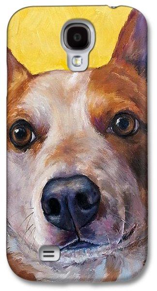 Australian Cattle Dog Red Heeler On Yellow Galaxy S4 Case by Dottie Dracos