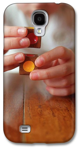 Autistic Girl Playing With Toy Blocks Galaxy S4 Case by Hannah Gal