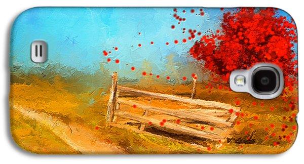 Autumn Farm- Autumn Impressionism Oil Palette Knife Painting Galaxy S4 Case by Lourry Legarde