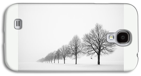 Avenue With Row Of Trees In Winter Galaxy S4 Case