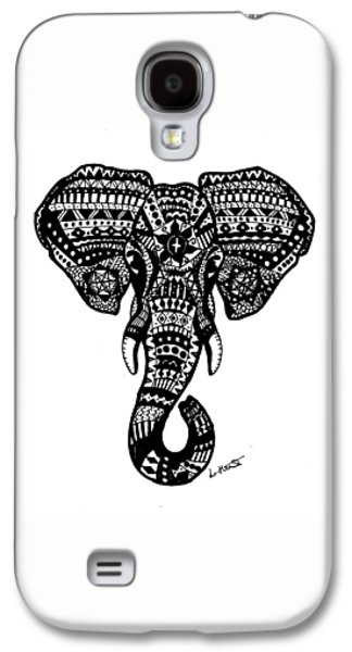 Aztec Elephant Head Galaxy S4 Case by Loren Hill