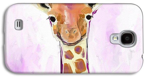 Orange Galaxy S4 Case - Baby Giraffe  by Cathy Walters