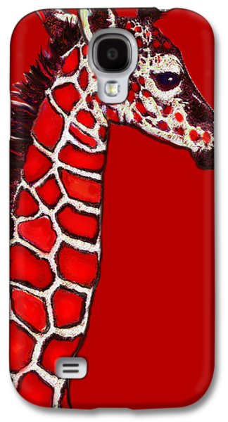 Baby Giraffe In Red Black And White Galaxy S4 Case by Jane Schnetlage