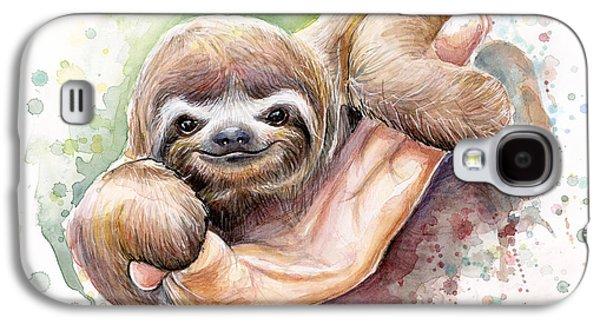 Baby Sloth Watercolor Galaxy S4 Case by Olga Shvartsur