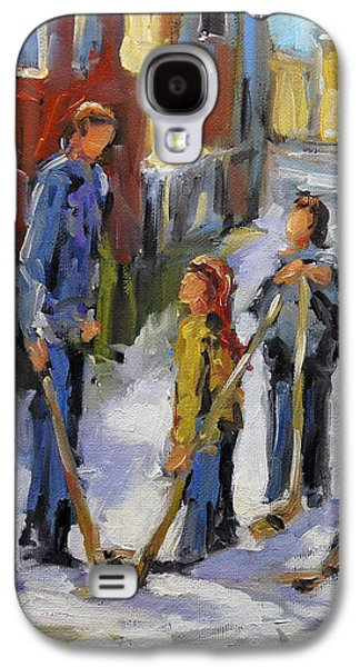 Back Lane Hockey The Stand Off By Prankearts Galaxy S4 Case by Richard T Pranke