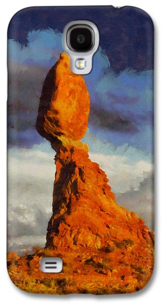 Balanced Rock At Sunset Digital Painting Galaxy S4 Case by Mark Kiver