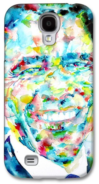 Barack Obama - Watercolor Portrait Galaxy S4 Case by Fabrizio Cassetta