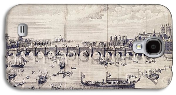 Barges At Westminster Bridge Galaxy S4 Case by Library Of Congress