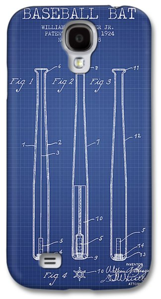Baseball Bats Galaxy S4 Case - Baseball Bat Patent From 1924 - Blueprint by Aged Pixel