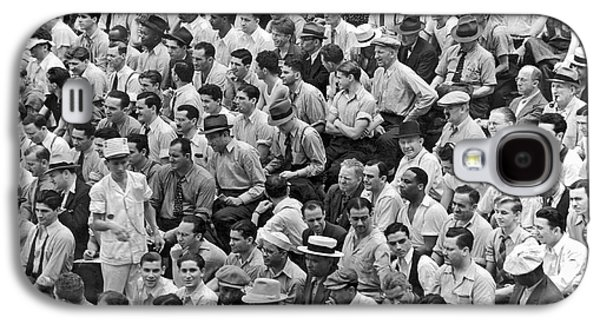 Baseball Fans In The Bleachers At Yankee Stadium. Galaxy S4 Case by Underwood Archives