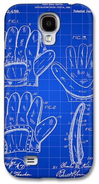 Baseball Glove Patent 1909 - Blue Galaxy S4 Case
