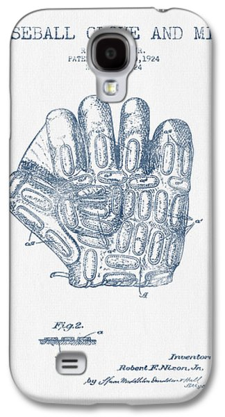 Baseball Glove Patent Drawing From 1924 - Blue Ink Galaxy S4 Case