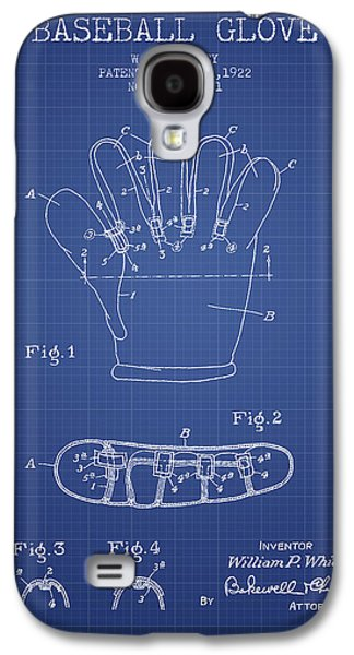 Baseball Bats Galaxy S4 Case - Baseball Glove Patent From 1922 - Blueprint by Aged Pixel