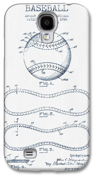 Baseball Bats Galaxy S4 Case - Baseball Patent Drawing From 1928 - Blue Ink by Aged Pixel