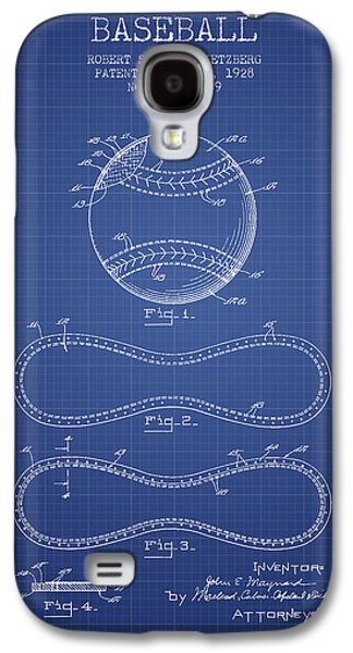 Baseball Bats Galaxy S4 Case - Baseball Patent From 1928 - Blueprint by Aged Pixel