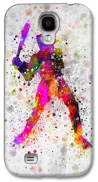 Baseball Player - Holding Baseball Bat Galaxy S4 Case by Aged Pixel