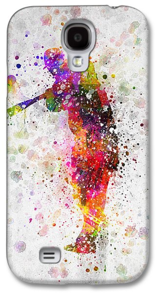 Baseball Player - Taking A Swing Galaxy S4 Case by Aged Pixel