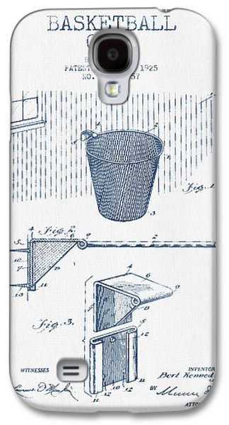 Basketball Goal Patent From 1925 - Blue Ink Galaxy S4 Case by Aged Pixel