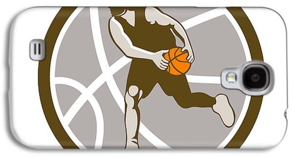 Basketball Player Dribbling Ball Circle Retro Galaxy S4 Case