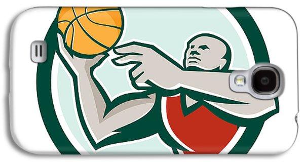 Basketball Player Lay Up Ball Circle Retro Galaxy S4 Case