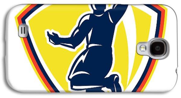 Basketballer Dunking Rebounding Ball Retro Galaxy S4 Case