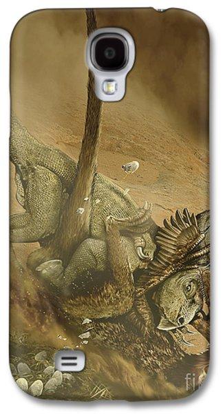 Battle Scene Between A Velociraptor Galaxy S4 Case