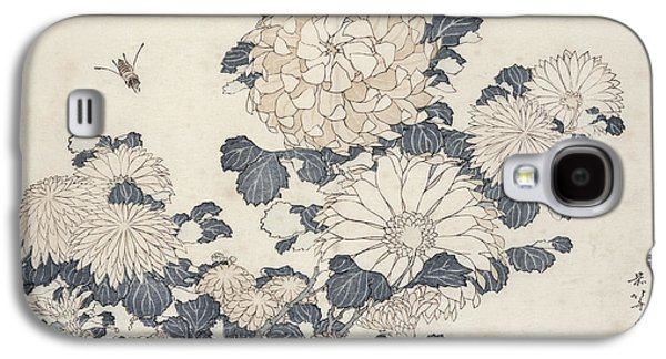 Bee And Chrysanthemums Galaxy S4 Case by Katsushika Hokusai