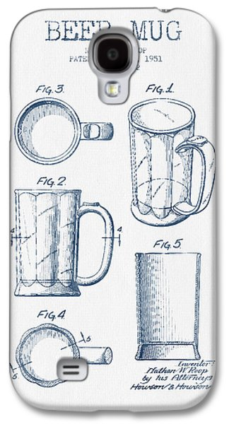 Beer Mug Patent Drawing From 1951 -  Blue Ink Galaxy S4 Case