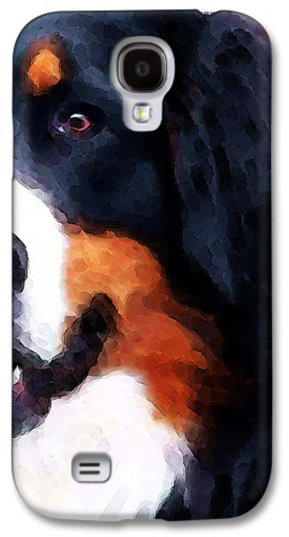Bernese Mountain Dog - Half Face Galaxy S4 Case by Sharon Cummings