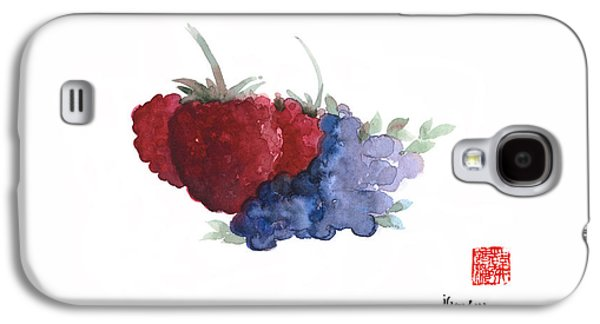 Berries Red Pink Black Blue Fruit Blueberry Blueberries Raspberry Raspberries Fruits Watercolors  Galaxy S4 Case by Johana Szmerdt
