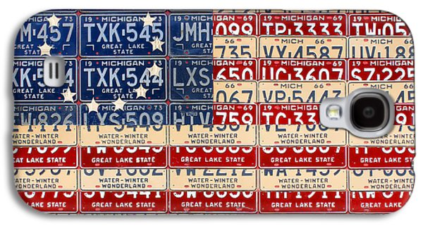 Betsy Ross American Flag Michigan License Plate Recycled Art On Red Board Galaxy S4 Case by Design Turnpike
