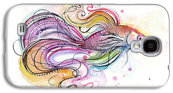 Betta Fish Watercolor Galaxy S4 Case by Olga Shvartsur
