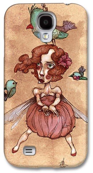 Birds On Head Woman Galaxy S4 Case by Autogiro Illustration