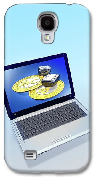 Bitcoins And Dice On A Laptop Galaxy S4 Case