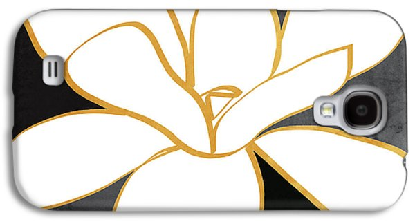 Black And Gold Magnolia- Floral Art Galaxy S4 Case by Linda Woods