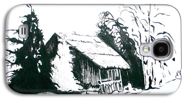Black And White Barn In Snow Galaxy S4 Case