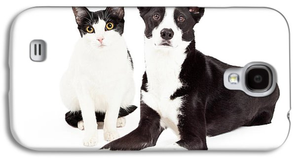 Black And White Cat And Dog Galaxy S4 Case by Susan Schmitz