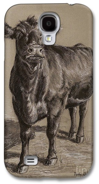 Cow Galaxy S4 Case - Black Angus Cow 1 by Nicole Troup