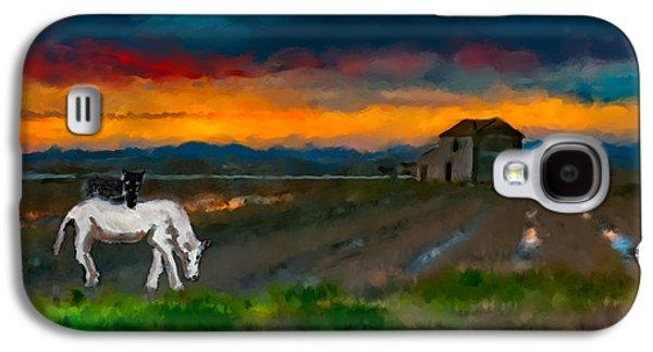 Black Cat On A White Horse Galaxy S4 Case by Juan Carlos Ferro Duque