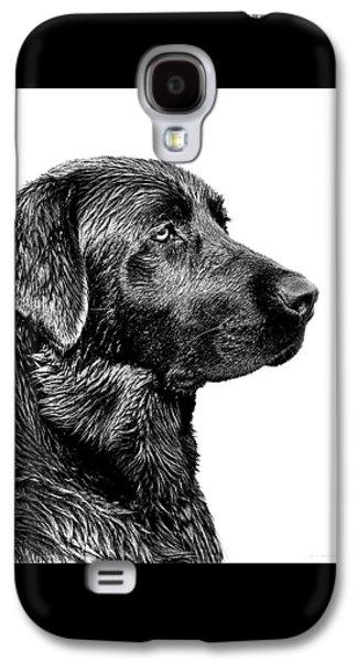 Dog Galaxy S4 Case - Black Labrador Retriever Dog Monochrome by Jennie Marie Schell