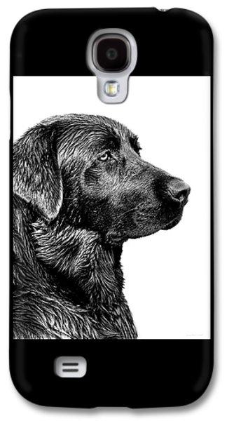Dogs Galaxy S4 Case - Black Labrador Retriever Dog Monochrome by Jennie Marie Schell