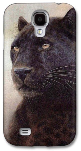 Black Leopard Painting Galaxy S4 Case by Rachel Stribbling