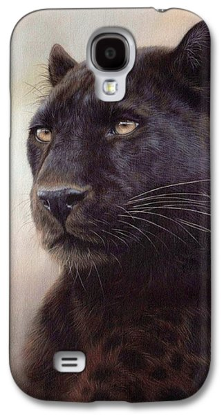 Black Leopard Painting Galaxy S4 Case by Rachel Stribbling