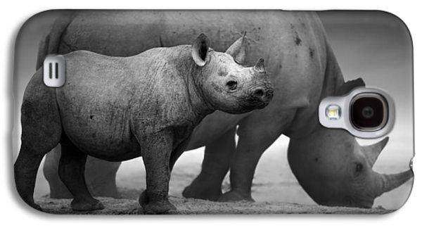 Black Rhinoceros Baby And Cow Galaxy S4 Case by Johan Swanepoel