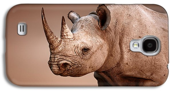 Black Rhinoceros Portrait Galaxy S4 Case